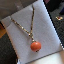 "Antique Gold Rose Cut Diamond Coral Bead Pendant HM 9ct 9k Gold 18"" Curb Chain"
