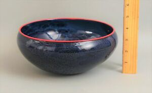Authentic Signed Josh Simpson New Mexico Astronomical Blown Blue Art Glass Bowl
