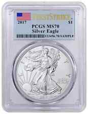 2017 PCGS MS-70 Silver Eagle $1 1 oz Silver First Strike Flag Label