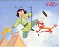 Gambia 1998 Disney/Mulan/Films/Cinema/Cartoons/Animation/Dragon 1v m/s (b6724y)