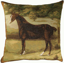 Black Horse French Woven Tapestry Cushion Pillow Cover Fine Art Home Decor