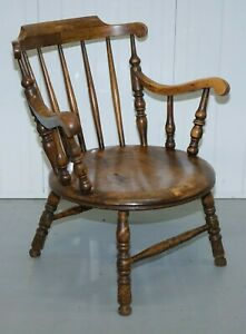 GORGEOUS WINDSOR LOW BACK BEECHWOOD CARVER ARMCHAIR ON BALL AND REEL LEGS