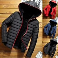 Mens Hooded Padded Coat Jacket Puffer Bubble Windproof Warm Coats Zip Up Outwear