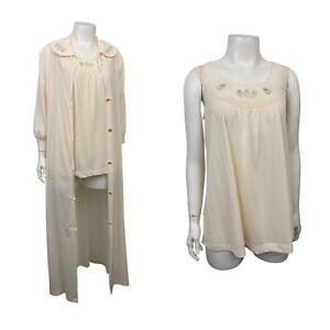 1960s Nightgown Robe Set / Creme Sleeveless Nightie Top & Robe / Small