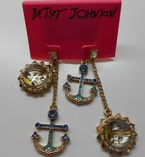 Betsey Johnson Ship Shape Anchor & Sail Boat Mis Match Post Earrings MSRP $45