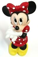 Disney Cute Minnie Mouse Red Polka Dot w/ Hair Bow - Porcelain Figure - Vintage