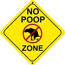 NO POOP ZONE Sign dog crap clean up pick pet signs walk walker lawn grass scoop