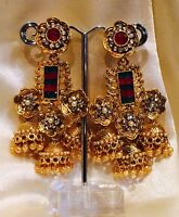 Bollywood Gimmiki Indian Designer Earrings Gold Pearls Jhumka Red Green F36