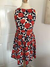 Dorothy Perkins Blue/Red Flower Patterned Skater Dress, Size 10!