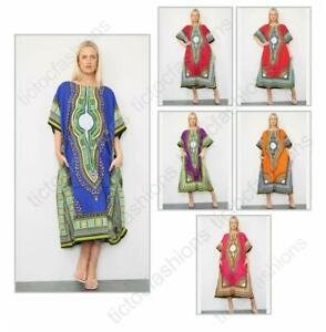 Ladies Long African Kaftan Dashiki Print Pockets 100% Cotton Summer Dress UK