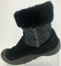 J-41 Winter Boots Faux Fur Black Pull On Shearling Snow Ankle Booties Womens 9 M