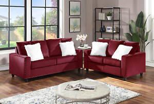 NEW 2PC Sofa Couch Loveseat Set Red Velvet Modern Living Furniture & Fur Pillows