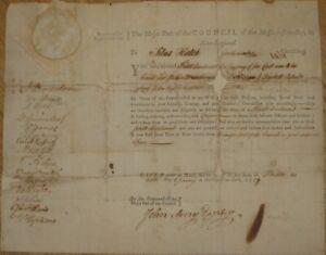 1777, Massachusetts, RARE, Coastman's Commission, many men of fame signed,