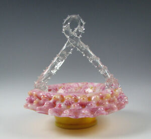 Antique Victorian Art Glass Basket Mottled Yellow Pink and Opal Thorn Handle