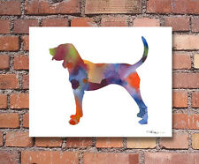 "Bluetick Coonhound Abstract Watercolor 11"" x 14"" Art Print by Artist Dj Rogers"