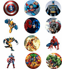 Marvel Super Hero Cake Topper Rice Paper CupCake Toppers 12 x 2 Inch Round