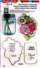 Stampendous Fran's Mason Jar & Flowers Clear Stamp & Die Cutting Set