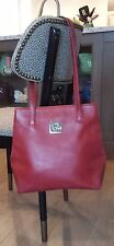 AUTH VINTAGE GUY LAROCHE Burgundy GENUINE LEATHER TOTE HANDBAG CHROME Accents