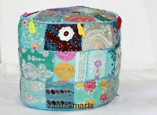 """18"""" Indian Handmade Footstool Pouf Vintage Round Ottoman Embroidered Chair Cover"""
