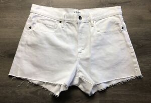 FRAME Denim LE BRIGETTE Raw EDGE White CUT OFF Shorts 30 🌸