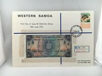 1973 Hutt Commemorative Western Samoa First Day Issue $2 Definitive Stamp & Coin
