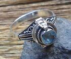 925 Solid Silver Balinese Poison Locket Ring Round Blue Topaz Size 6-H60