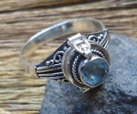 925 Solid Silver Balinese Poison Locket Ring Round Blue Topaz Size 6-H60