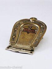 ANCIENNE PINCE A COURRIER, métal et laiton, fer à cheval, bombe équitation