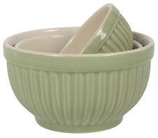 """Ib Laursen """"Mynte"""" Schüssel-Set 3.tlg Meadow Green Keramik gerillt dänisch"""