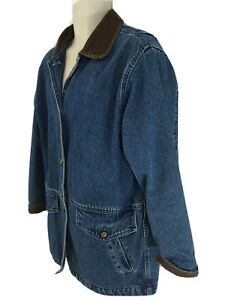 St Johns Bay Womens M Blue Flannel Lined Barn Chore Field Jacket Coat