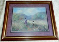 Vtg HOMCO Home Interiors Picture Church Lady Picking Wild Flowers Children Kids