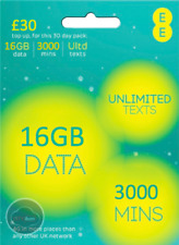 EE 4G PAYG Trio SIM Card Preloaded With 16GB Data, 3000 Minutes, Unlimited Texts