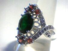 Red Garnets, Green Topaz, & Purple Amethyst Adorn this Beautiful Size 10 Ring