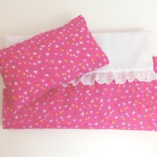 DOLLS BED PRAM/COT BEDDING SET ~ PINK FLORAL ~ BABY ANNABELL/BORN