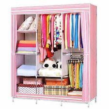Triple Canvas Fabric Wardrobe Clothes Hanging Rail Shelves Storage Cupboard UK