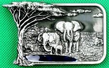 "Belt Buckle ""Elephant Family in Africa!"" 3.8cm Wide, DIY, Custom Metal Casting."