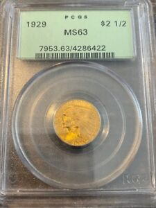 AVC - 1929 $2.5 GOLD INDIAN QUARTER PCGS MS62 OGH