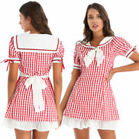 Women Girls Plaid Dress Tie Waist Belted Sailor Collar Short Sleeve Ruffle Dress