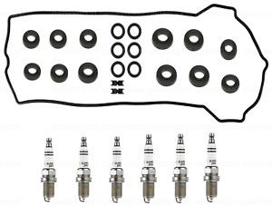Valve Cover Gasket Set w/ Grommet & Set of 6 Spark Plugs for Mercedes 300CE E320