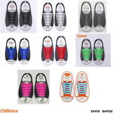 Lacets Silicone Elastiques Pour Chaussure Baskets Lacage Facile Enfants Adulte