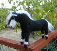Needle Felt Horse Black and White - hand made -
