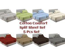 Split Bed Sheet Set King Size 16 Inches Deep Pure Cotton 400 TC 5 PCs Set