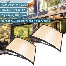 """40x40"""" Window Awning Outdoor Polycarbonate Door Patio Rain Cover Protection 2PCS"""