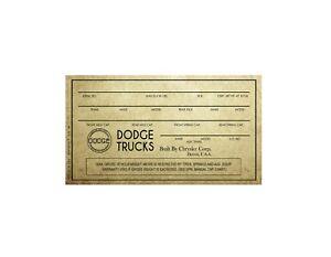 1957, 1958 Dodge Sweptside Truck Vin Number Card Reproduction