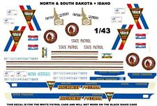 NORTH AND SOUTH DAKOTA SATE PATROL PLUS IDAHO POLICE  1/43rd Scale Decals