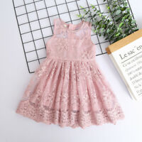 Toddler Baby Kids Girls Summer Ruched Lace Princess Dress Party Wedding Dresses