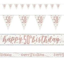 Rose Gold Glitz Age 50 Birthday Banners, Foil Banner, Flag Banner, Party, Pink