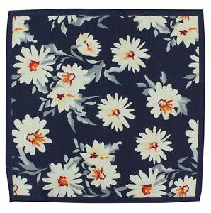 Cream Large Flower Silk & Cotton Pocket Square