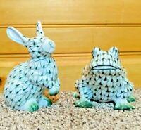 Andrea By Sadek Green Bunny Rabbit Frog Porcelain Figurine Fishnet Hand Painted