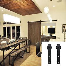 2 Set Dark Coffee Door Hardware Steel Wood Barn Door Roller Closet Replacement